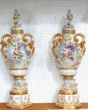 Pair of Monumental Porcelain Figural Covered Urns