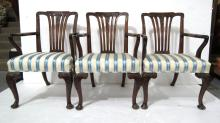 10 English William IV Hand Carved Arm Chairs