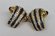 Pair of 18Kt YG Krypell 3.60ct Sapphire & 4.50ct Diamond Earrings