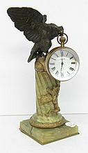 Antique Bronze & Onyx Eagle Tiffany Clock Figure