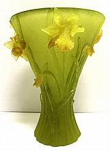 Large Daum Pate de Verre Jonqiuilles Vase