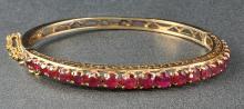 1950's 14k Rose Gold Gemstone Bangle Bracelet