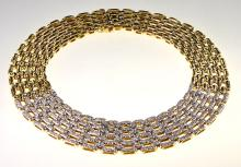 Fine Contemporary 18K Yellow Gold Wide Diamond Choker By Ivan & Co