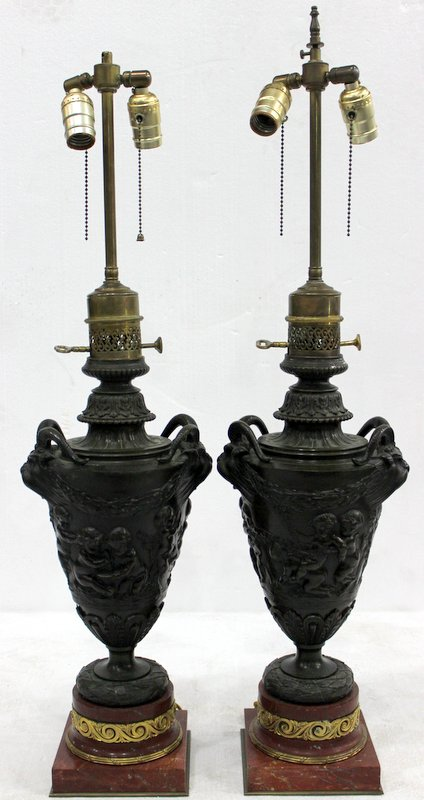 Pair of Antique French Figural Bronze & Red Marble Lamps