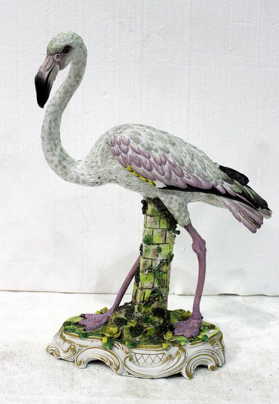 Rare Meissen Hand Painted Porcelain Flamingo Figure