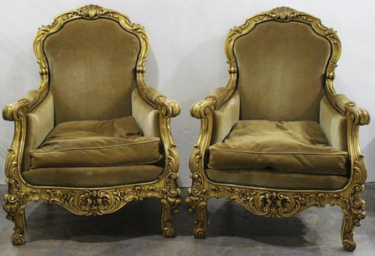 Pair of Louis XV Style Gold Leaf Upholstered Chairs