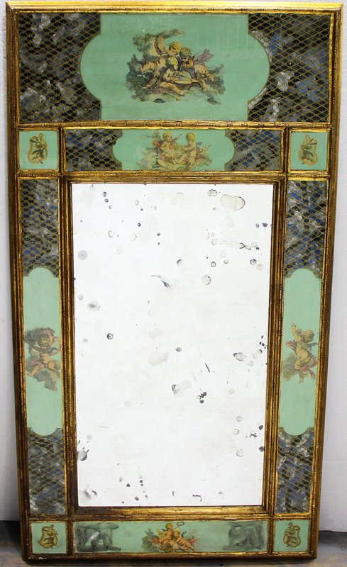 Antique Hand Decorated, Etched & Hand Painted Glass Mirror