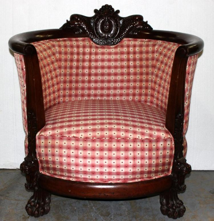 Victorian Carved Wooden & Upholstered Chair