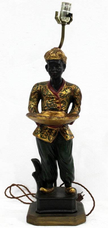 Vintage Italian Carved Hand Painted Blackamoor Lamp