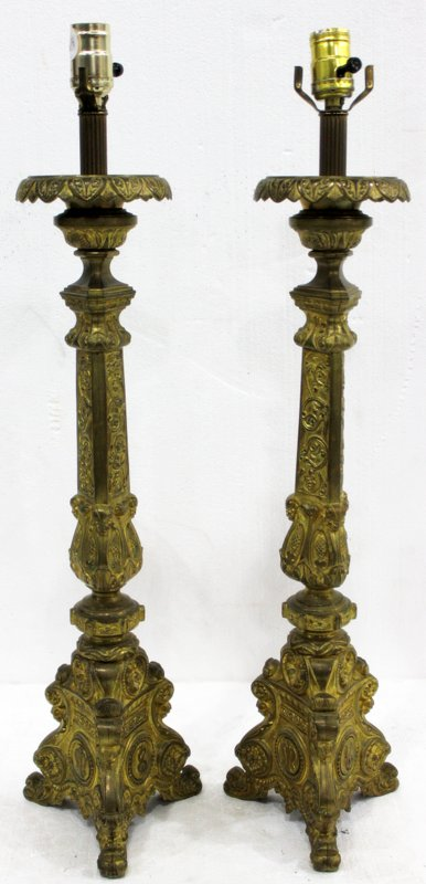 Pair of French Gilt Bronze Lamps