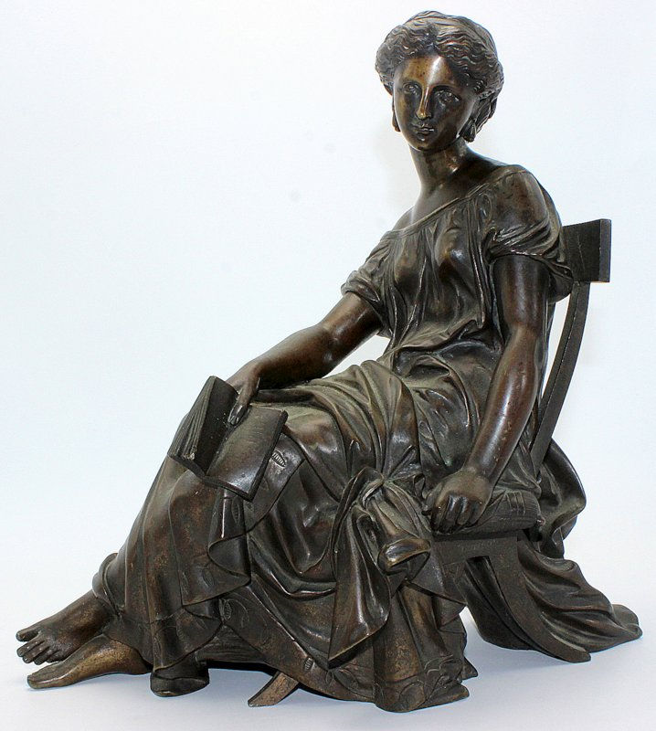 Antique A. Moureau Bronze Woman on Chair