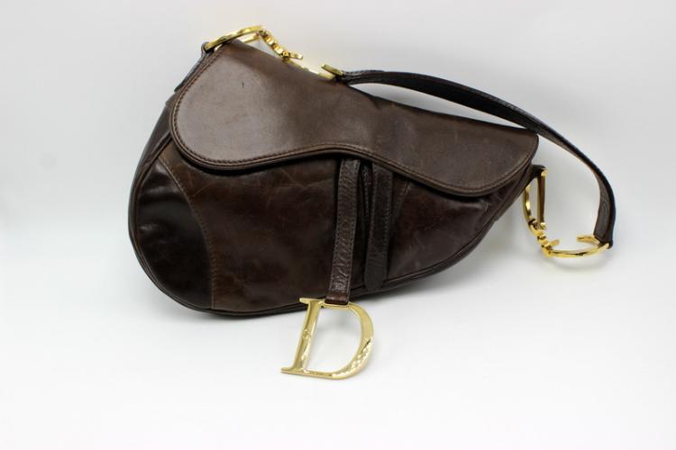 Christian Dior Brown Leather Saddle Bag