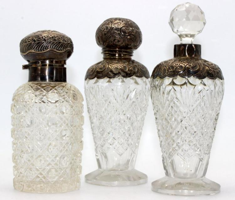 3 Pc. Antique European Sterling & Cut Crystal Perfume Bottles