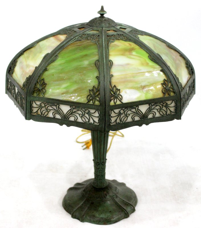 American Green Leaded Glass & Bronze Table Lamp
