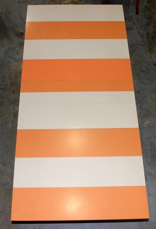 Mid-Century Orange & Cream Striped Dining Table