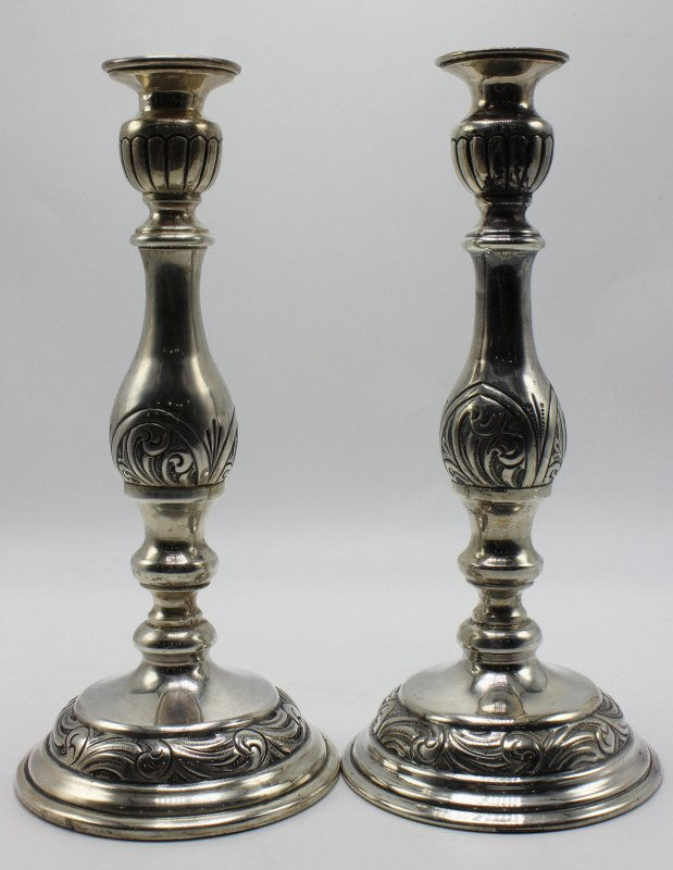 Pair of Beautiful Hand Chased Sterling Candlesticks