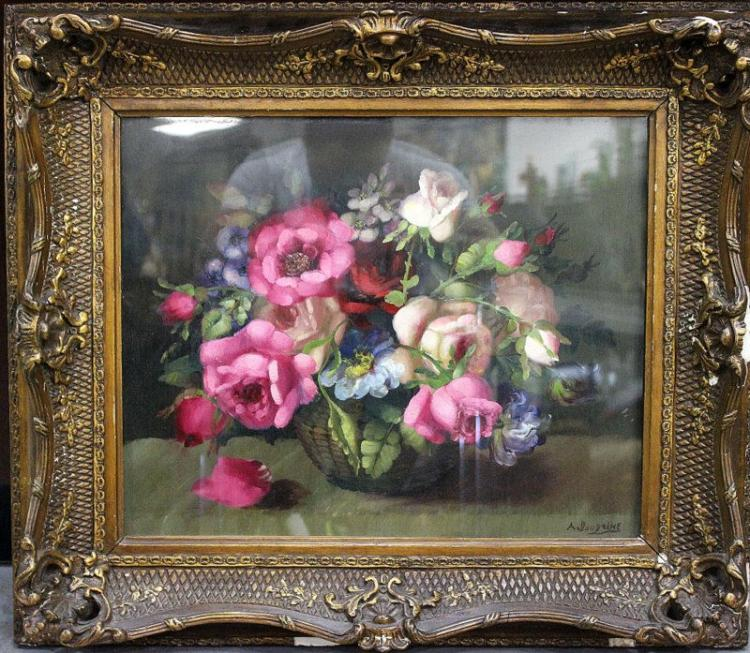Signed Still Life Oil Painting on Board