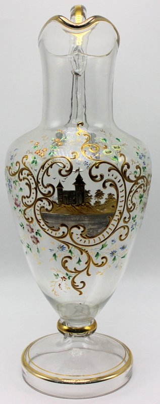 Hand Painted Glass Pitcher