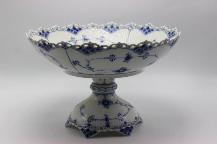 Royal Copenhagen Blue & White Laced Porcelain Compote