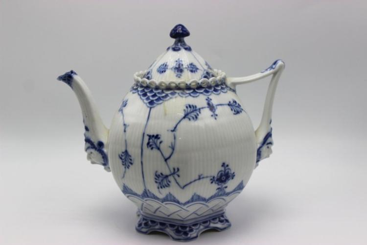 Royal Copenhagen Blue & White Laced Porcelain Teapot