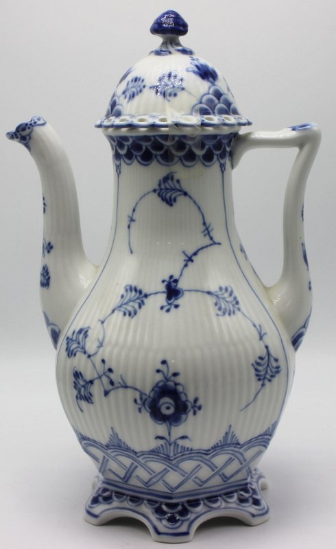Royal Copenhagen Blue & White Laced Porcelain Coffee Pot
