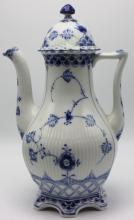 Royal Copenhagen Blue & White Laced Porcelain Coffee Pot