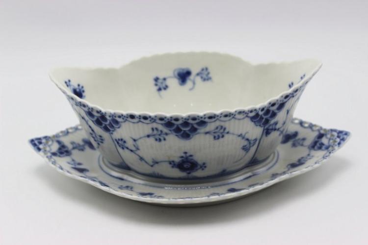 Royal Copenhagen Blue & White Laced Porcelain Gravy Boat