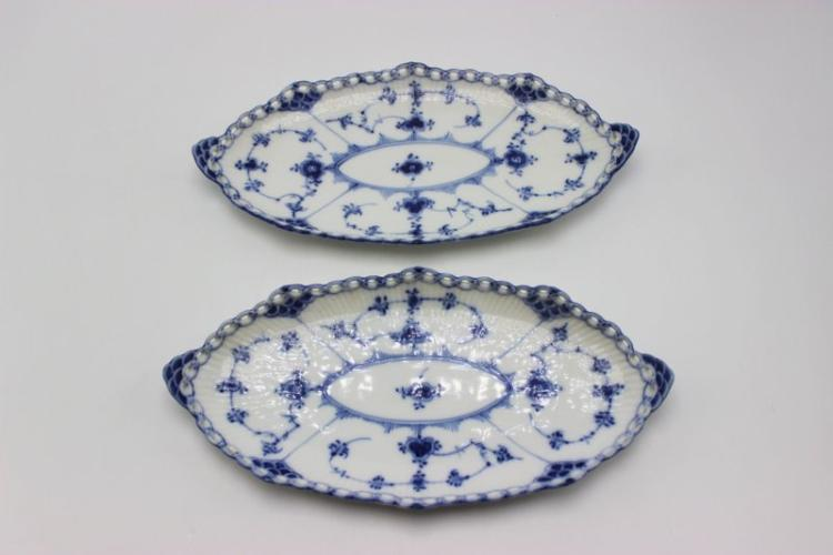 2 Pc. Royal Copenhagen Blue & White Laced Porcelain Serving Dishes