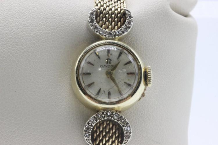Vintage 14Kt YG Omega Diamond Ladies Watch
