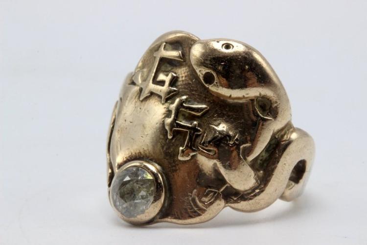 14Kt YG Snake Diamond Ring
