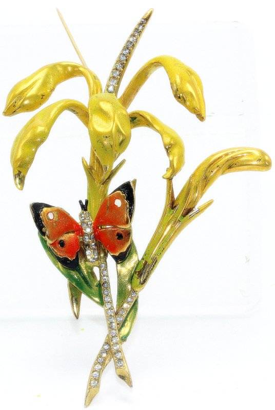 Marvella Enamel Butterfly Costume Brooch