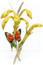 Marvella Enamel Butterfly Costume Brooch