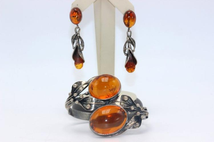 Sterling Amber Bangle & Earrings Suite