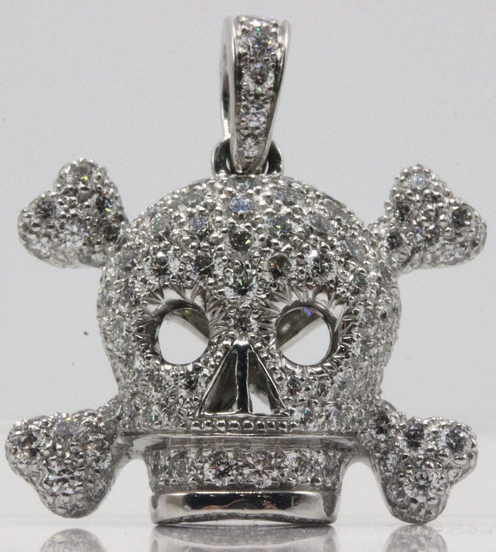 Dior Tete de Mort 18Kt WG Diamond Pendant