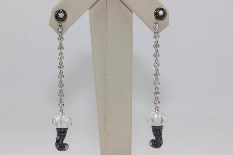 Chantecler 18Kt WG Crystal & Semi-Precious Stone Earrings