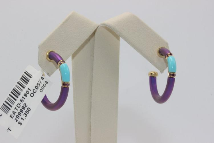 Chantecler 18Kt YG Turquoise & Semi-Precious Stone Earrings