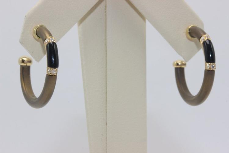 Chantecler 18Kt YG Black Hornstone & 0.10ct. Diamond Earrings