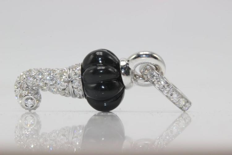 Chantecler 18Kt WG 0.37ct. Diamond & Onyx Pendant
