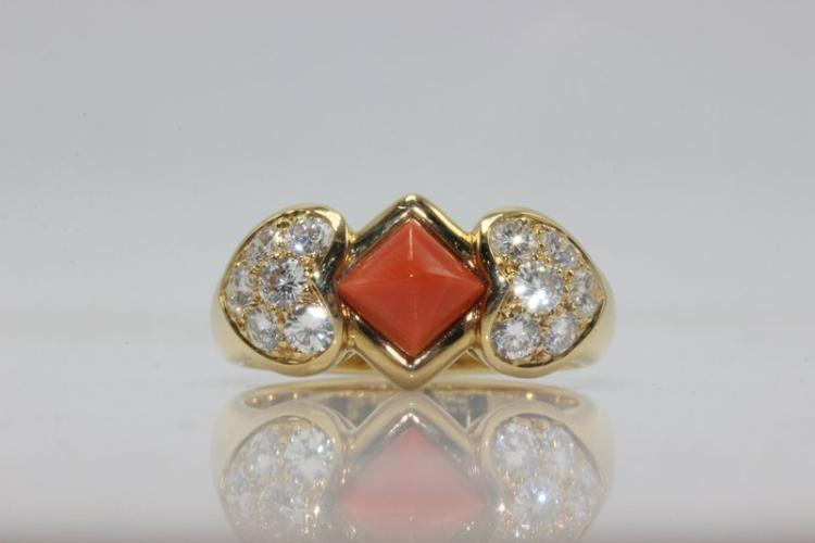 Christian Dior 18Kt YG Coral & Diamond Ring