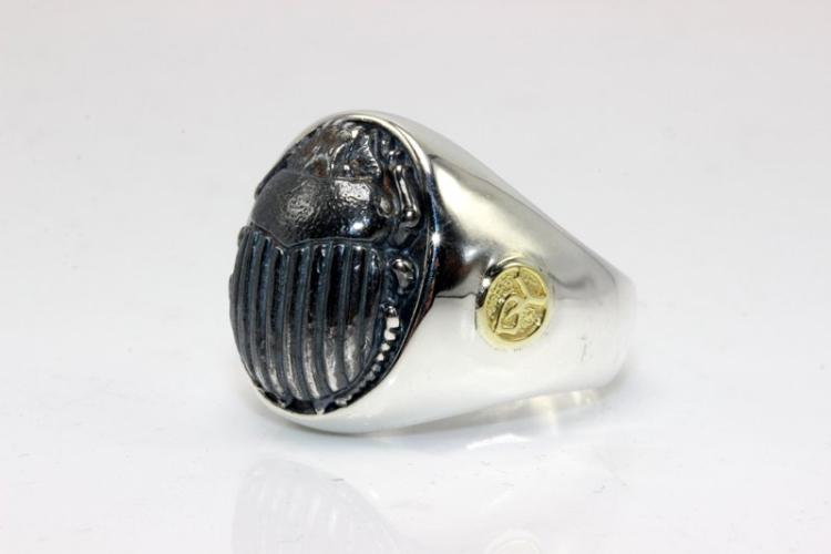 David Yurman Petrus Scarab 22Kt YG & Sterling Men's Ring