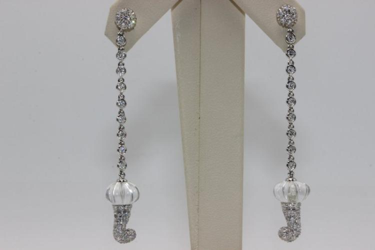 Chantecler 18Kt WG 1.22ct. Diamond & Crystal Earrings