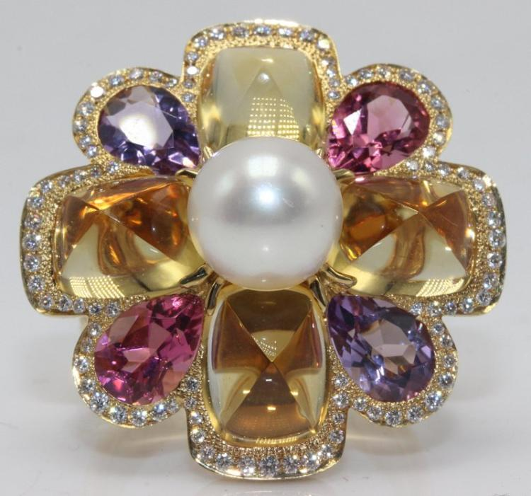 Chanel 18Kt YG Pearl, Tourmaline, Amethyst, Citrine & Diamond Ring