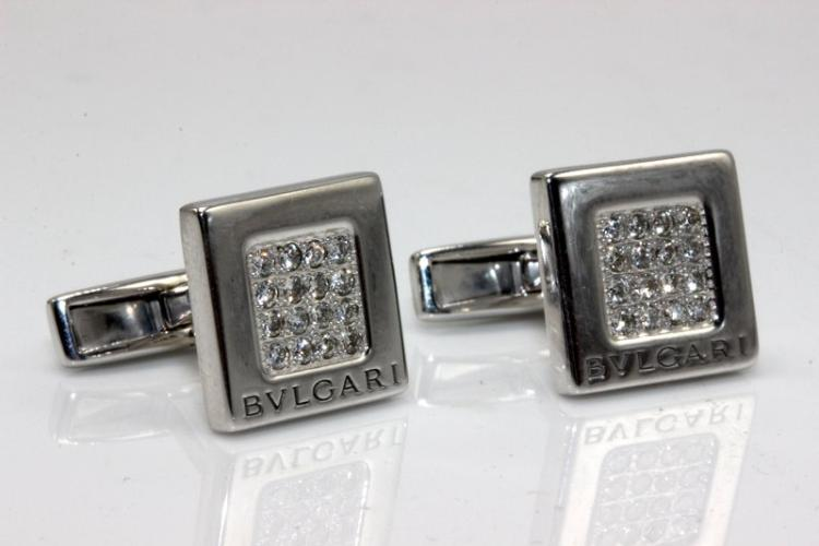 Bvlgari 18Kt WG 0.40ct. Diamond Cufflinks