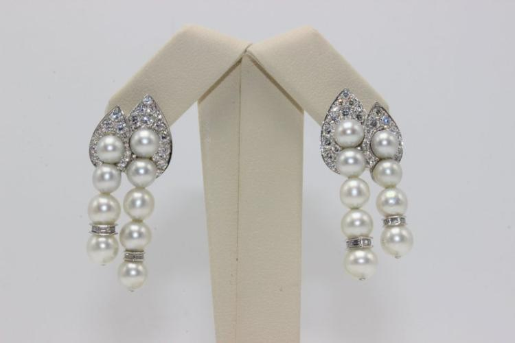 Estate Platinum & 18Kt WG Pearl & 1.44ct. Diamond Earrings