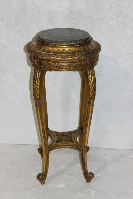 Antique Louis XV Style Gilt Marble Top Pedestal