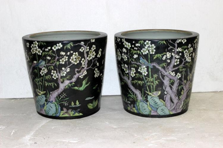 Pair of Antique Chinese Hand Painted Porcelain Pots