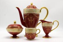 11 Pc. Royal Worcester Hand Painted Porcelain Tea Set