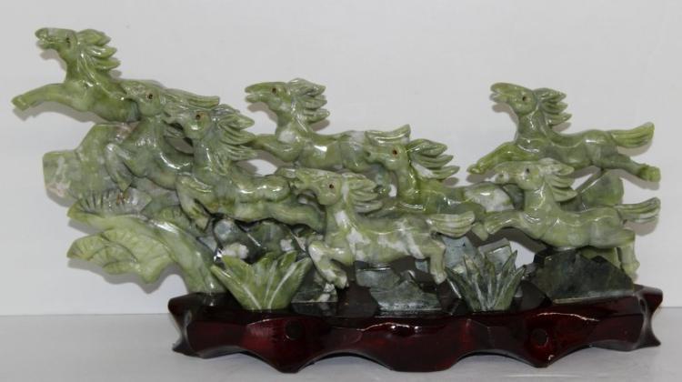 Chinese Decorative Jade Horse Group