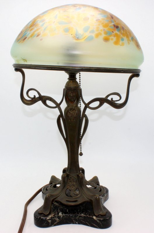 Antique Art Nouveau Bronze Hand-Decorated Iridescent Lamp