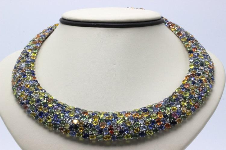 Exquisite 18Kt WG 179.40ct. Colored Sapphire & 3.00ct. Diamond Necklace